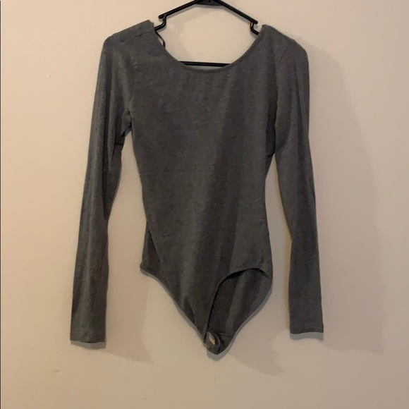 Forever 21 Tops - Long sleeve gray bodysuit